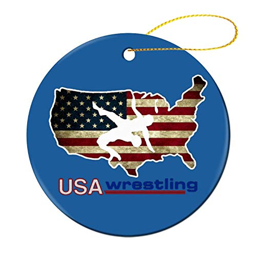 Zeyustge USA Wrestling Microfiber Christmas Ornament Funny Decorations, Commemorative Ornament, Ceramic Round Ornament & Ribbon for Xmas Tree Ornament Hanging Accessories