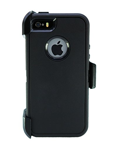 WallSkiN Turtle Series Belt-Clip Cases for iPhone 5S / 5 / SE (2016), 3-Layer Full Body w Screen Protector, Life-Time Protective Cover & Holster & Kickstand & Shock, Dust Proof - Black/Black