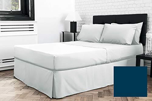 Sábana bajera plisada para cama individual de 3 pies x 6 pies 3 pulgadas (36 pulgadas x 75 pulgadas) (bajo colchón) (azul marino)