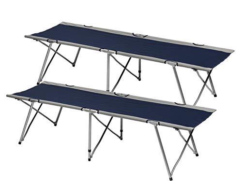 Lot de 2 lits de camp compacts pliables en tissu polyester robuste de couleur bleue avec sac de rangement