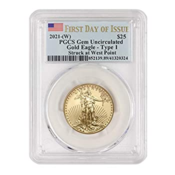 2021  W  1/2 oz Gold American Eagle Gem Uncirculated  First Day of Issue - Type 1 - Struck at West Point - Flag Label  by CoinFolio $25 GEMUNC PCGS