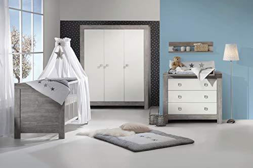 Babyzimmer Nordic Driftwood in Driftwood Grau mit Weiß von SCHARTD 6 teiliges Megaset mit Schrank, Bett mit Lattenrost und Umbauseiten, Wickelkommode inklusive Wickelaufsatz