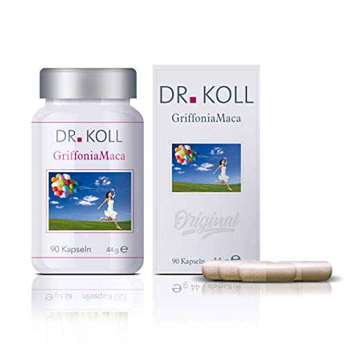 Dr. Koll Griffonia Maca | Pflanzenextrakt, 100 % vegan | aus Griffonia simplicifolia-Extrakt und Maca Pulver | Natürliches Nahrungsergänzungsmittel (90 Kapseln, 44 g)