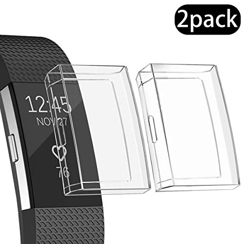Ultra Slim Soft Full Cover Case for Fitbit Charge 2,Opretty Crystal TPU Protective Cases Frame Shockproof Cover Shell Accessories for Fitbit Charge 2 Smart Watch (Clear 2Pcs)