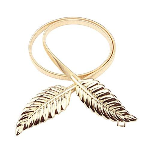 Elinadress Women's Stylish Gold Leaf Buckle Elastic Stretch Waist Chain Belt For Dresses