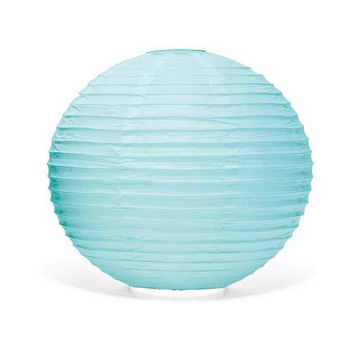 Weddingstar Round Paper Lantern, Large, Aqua Blue