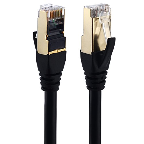 Cat 7 Ethernet Cable, (2m / 6.5ft 5-Pack) SMALLElectric CAT7 LAN Network Cable RJ45 High Speed Patch Cord STP Gigabit 10/100/1000Mbit/s Gold Plated Lead for Switch/Router/Modem/Patch Panel