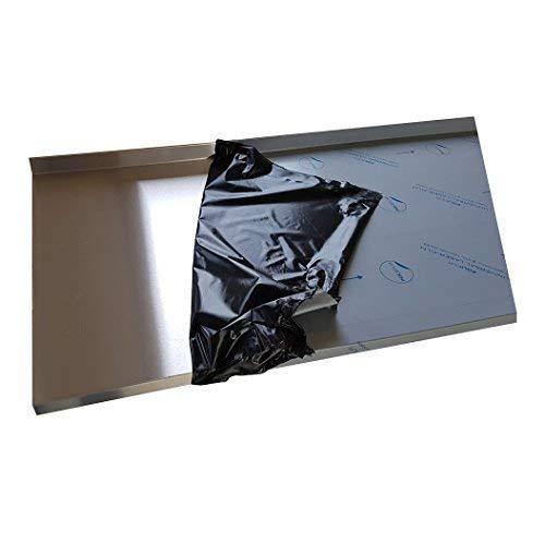 Edelstahl Abdeckplatte K240 Edelstahltisch Gastrotisch 0,8mm Abdeckung für 55 cm Küchenarbeitsplatte 4 cm stark 70 cm (700mm) lang