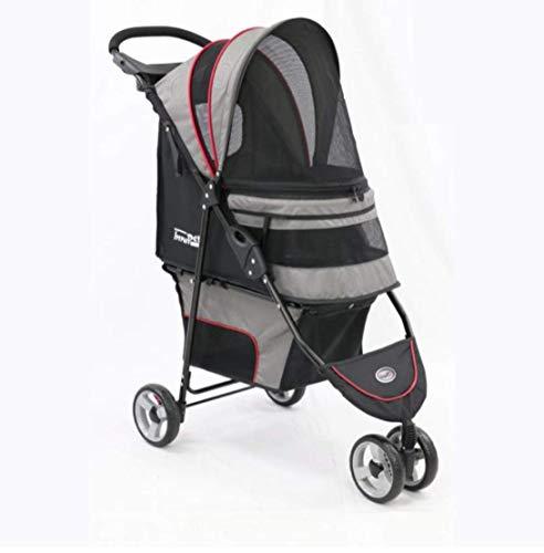 Innopet ® Buggy Avenue - IPS-033/SG - hellgrau/rot - inkl. Regenhaube Hundebuggy Pet Stroller
