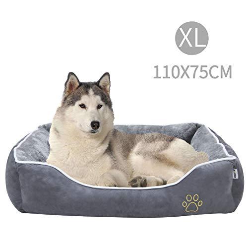 MC Star Haustierbett Hundesofa, Weich Hundebett für Große Hunde Katzen Welpe Kätzchen, Haustierkorb mit Abnehmbarem Kissen, rutschfest Unterlage, Einfach zu Säubern, Grau 110 x 75 cm