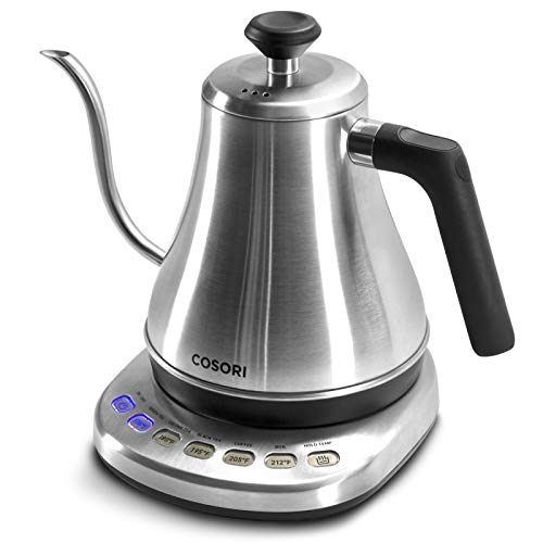 COSORI Electric Gooseneck Kettle with 5 Variable Presets, Pour Over Coffee Kettle & Tea Kettle, 100% Stainless Steel Inner Lid & Bottom, 1200 Watt Quick Heating, 0.8L, Silver