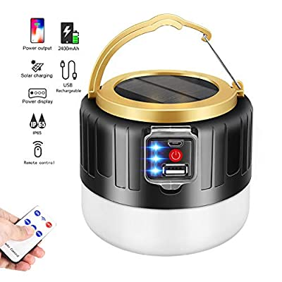 APPLL LED Camping Lantern Rechargeable, Camping Flashlight Tent Lights- Remote, Solar Charge Portable Lantern, 2400mah Power Bank, 1000LM, 5 Light Modes, Outdoor Camping Travel Fishing Hiking Light