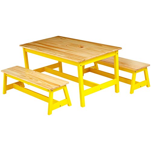 Amazon Basics Indoor Kids Table and Bench Set, Natural