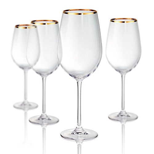 Artland Band Bordeaux Wine Non-Lead Crystal Glass, Set Of 4, 25 oz, Clear/Gold