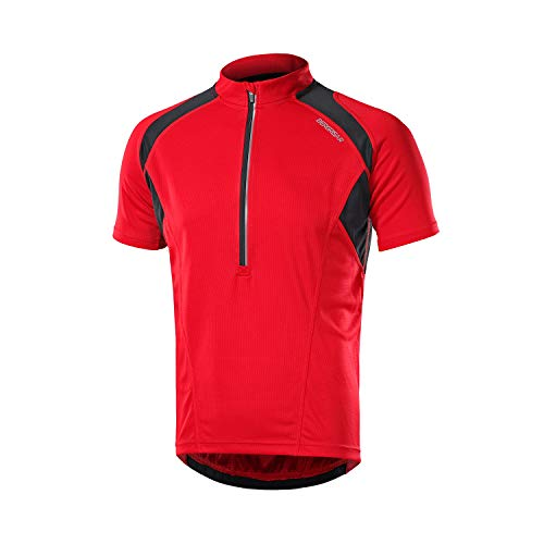BERGRISAR Herren Fahrradtrikot mit halbem Reißverschluss, kurze Ärmel, Fahrrad-Shirts mit Reißverschlusstasche, schnelltrocknend, atmungsaktiv BG060 - Rot - Groß