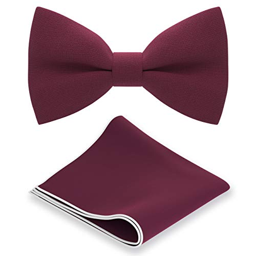 Bow Tie House Classic Pre-Tied Bow Tie Set Formal Pocket Square Solid Hanky Tuxedo with Handkerchief set, by (Medium, Deep Red)