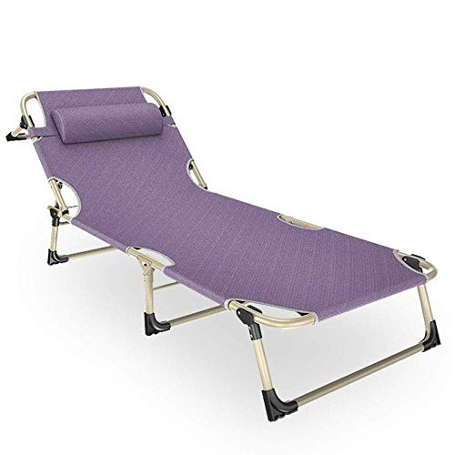 Portátil Tumbona, Hamaca Ocio al Aire Libre con cómodos reposacabezas 0-60 Ajuste Transpirable de Tela for Office Balcón Camping, Gris 1 WHJD (Color : Purple 1)