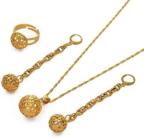 Collar Pendientes Largos de Bola Colgantes/Collar/Anillo Mujer Color Dorado Exquisito Conjunto de Joyas para el Uso Diario de la Fiesta de Bodas