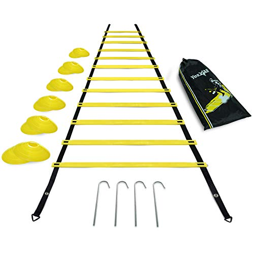 Yes4All Ultimate Combo Agility Ladder Training (Yellow) Set – Speed Agility Ladder Yellow 12 Adjustable Rungs, 12 Agility Cones & 4 Steel Stakes - Included Carry Bag