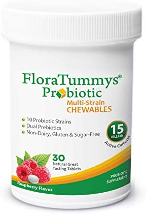 FloraTummys Adult Chewable Probiotic Prebiotic Non Dairy Gluten Free Sugar Free Great Tasting product image