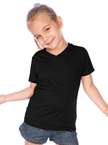 Kavio! Toddlers V Neck Short Sleeve Black 4T