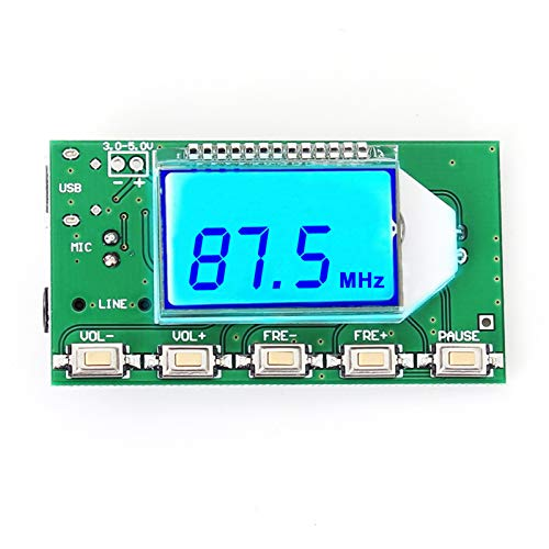 Icstation Digital Audio Transmitter Stereo DSP PLL Module 88-108MHz with LCD Display MIC USB Input