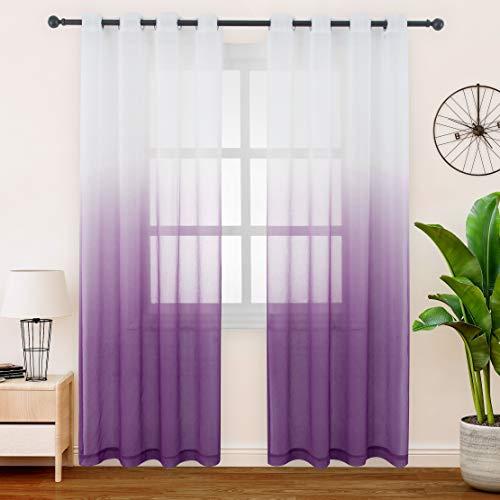 FLOWEROOM Gardinen/Vorhang Transparent Voile für Schlafzimmer und Wohnzimmer, 140 x 225 cm, Violett – Gardine Farbverlauf Fenster Vorhänge mit Ösen, Sheer Curtains 2er Set
