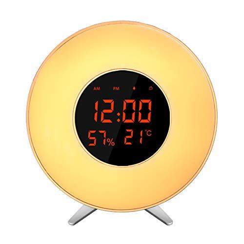 Heegomn Sunrise Wecker Alarmen, Desktop Morning Wake Up Lichtwecker Sonnenaufgang Simulationslicht 7 Farben Atmosphärenlampe
