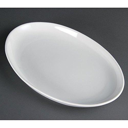 Olympia Lot de 2 assiettes ovales profondes en porcelaine Blanc 365 x 235 mm