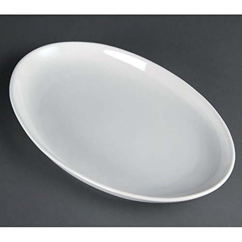 2X Olympia French Deep Oval Service Plates 365X235mm Porcelain White