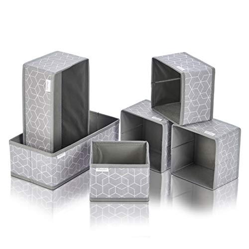 Aufbewahrungsboxen - Faltbox für Bad, Wickelkommode - Aufbewahrung -Ordnungsbox - Schubladen Ordnungssystem - Bad Organizer & Deko (6er Set)
