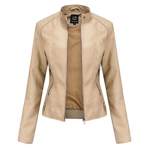 2-2 Chaqueta de cuero de motocicleta para mujer de primavera y otoño,abrigo cuero auténtico con cremallera clásica para mujer,chaqueta cuero moda motociclista corte entallado vintage Beige-S