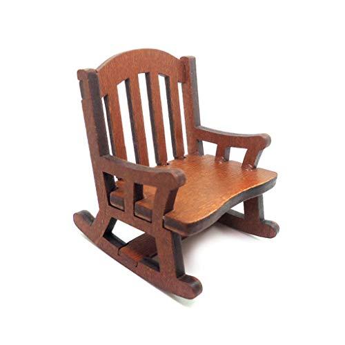 heacker 01.12 Holzschaukelsessel Puppenstuben Stuhl aturmöbel Sessel, Schaukelstuhl aus Holz, Puppenstuben-Modell Puppenhaus Spielzeug-Geschenk