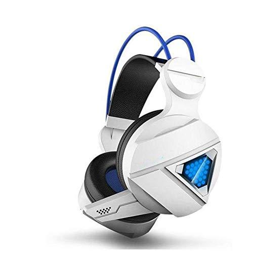 SZKQN Esports headset, gaming headset met ruisonderdrukkingsmicrofoon voor spelletjes, thuiskantoor, video en audio, size, wit
