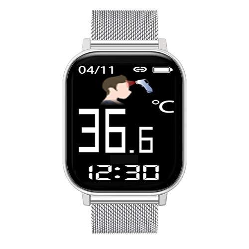 FMSBSC Reloj Inteligente Hombre Smartwatch - Medidor de Temperatura Corporal, Pulsómetros, Monitor de SpO2, Ritmo Cardíaco, Pulsera Actividad Inteligente para Android iOS,Plata