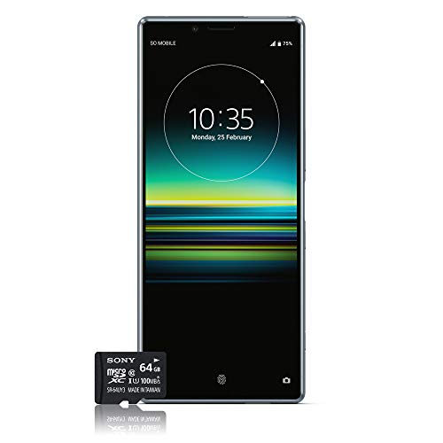 Sony Xperia 1 Smartphone Bundle (16,5 cm (6,5 Zoll) OLED Display, Dual-SIM, 128 GB Speicher, 6 GB RAM, Android 9.0) Grau + gratis 64 GB Speicherkarte [Exklusiv bei Amazon] – Deutsche Version