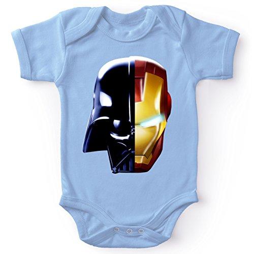 Body bébé Manches Courtes Garçon Bleu Parodie Star Wars - Iron Man - Dark Vador, Iron Man et Daft Punk - Dark Punk - Get Darky : (Body bébé de qualité supérieure de Taille 3 Mois - imprimé en Franc