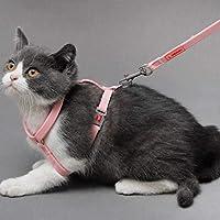 猫アーティファクトI字型胸部ストラップペット用品ウォーキングペットトラクションロープ (Color : Light pink, Size : S)