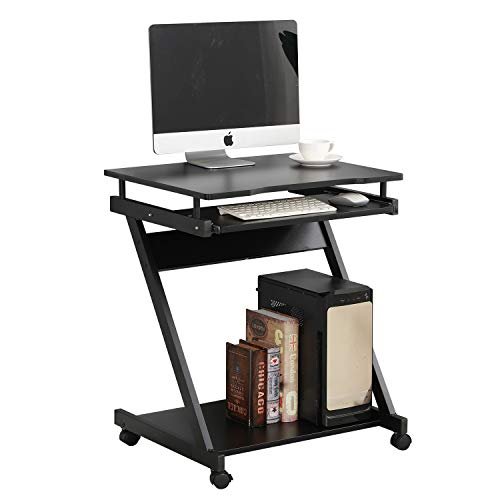 sogesfurniture Mobile Computer Desk Small Rolling Work Workstation with Printer Shelf and Keyboard Space Computer Workstation for Home and Office,Black BHUS-DX-8110-BB