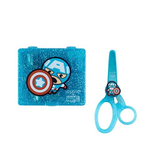 """Yoobi x Marvel Avengers Mini Office Supply Kit & Marvel School Set, Captain America Supply Kit (Stapler, Staples, Hole Punch, Tape Dispenser, & More) Scissors for Kids w/ 2 1/4"""" Blade"""