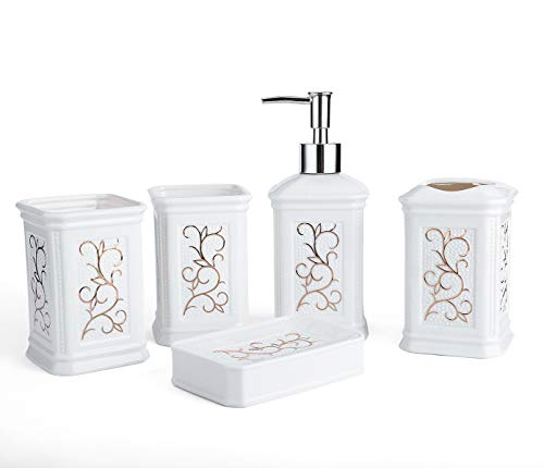 Longhang 5-Piece WhitePorcelain Ceramic Bathroom Accessories Set, Bath Decor Includes Liquid Soap or Lotion Dispenser Pump, Toothbrush Holder, Tumbler and Soap Dish, Ideas Home Gift