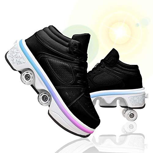 JZIYH Zapatillas Patinaje sobre Ruedas Deformación Patines De Ruedas con Luces Led Multifuncionales 2 En 1 Skate Ajustables Zapatos para Adultos Y Niños,Negro,36