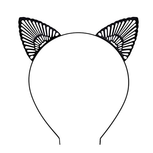 Faletony Katzenohren Haarreif Cat Ohr Headwear Haar Reifen Spangen Cosplay Geburtstagsfeier Make-up-Party Karneval Halloween (Schwarz)