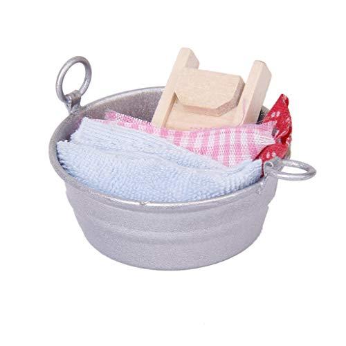 1 12 Casa de muñecas en Miniatura muñeca Juego de Juego de baño Washtub con la Tabla de Lavar Juego de Toallas