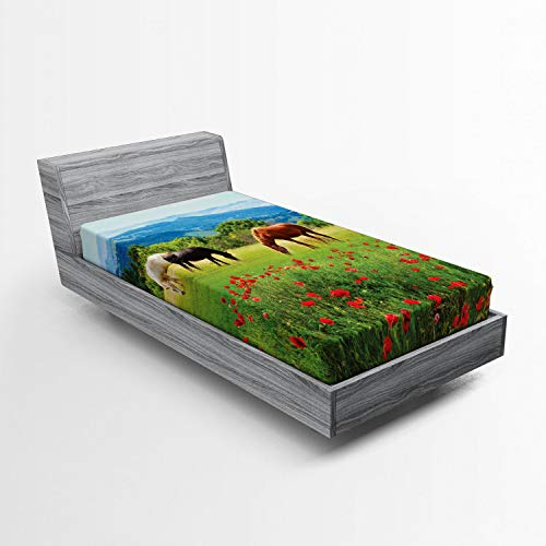 Ambesonne Horses Fitted Sheet, Various Kinds of Horses Eating Grass in Field Mountain Landscape Rural Scene Print, Soft Decorative Fabric Bedding All-Round Elastic Pocket, Twin Size, Green Red