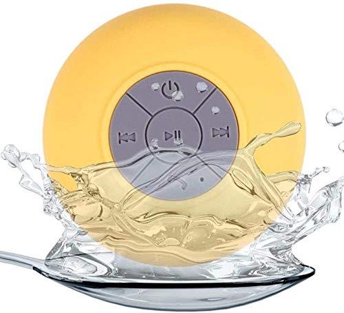 Medios dispositivo de streaming Inalámbrica Bluetooth Mini altavoz manos libres del coche a prueba de agua de baño Playa Oficina estéreo Subwoofer la música del altavoz con succión ( Color : Yellow )