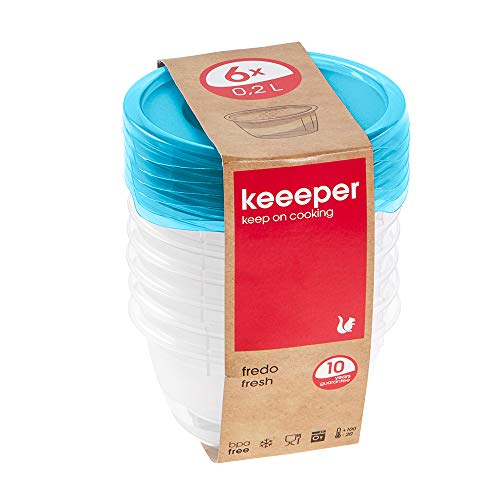 keeeper Frischhaltedosenset 6-teilig, 6 x 200 ml, Ø 9,5 x 5 cm, Fredo Fresh, Blau Transparent