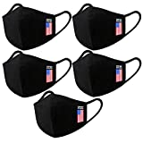 5 Pack Unisex Black Mask Dust Wind Sun Protective Mask for Adults Cotton, USA Flag
