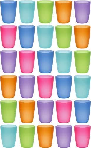 idea-station Neo Bicchieri plastica 30 Pezzi, 250 ml, Colorati, riutilizzabili, infrangibili, Rigida, Bambino, Bambini, Campeggio, Acqua, Birra