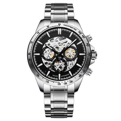 UNUORS Reloj mecánico para hombre, resistente al agua, luminoso, de acero inoxidable, con certificación suiza, automático, deportivo, para hombre, color plateado y negro